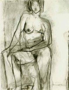 "museumuesum: "" Richard Diebenkorn Standing Nude, 1966 charcoal on paper, 25 x 19 inches "" Richard Diebenkorn, Figure Painting, Figure Drawing, Painting & Drawing, Life Drawing, Drawing Sketches, Art Drawings, Graphite Drawings, Sketching"