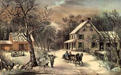 """CURRIER AND IVES LITHOGRAPH  My mother wallpapered our bathroom walls with prints from Currier and Ives calendars.  This was one of the prints.  Was very cute.  She was """"before her time"""" with her decorating style!  1955"""