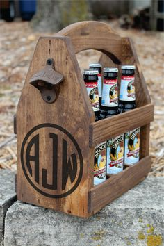 MONOGRAM Rustic Wood Beer Tote - Wedding Party Gifts - Beer Carrier - Beer Caddy - Personalized - Bottle Opener - Repurposed Wood