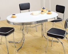 """Coaster 50's Retro Nostalgic Style Oval Dining Table, Chrome Plated by Coaster Home Furnishings. $247.31. 60""""L 36""""W 29.5""""H. Dining and Kitchen. Some assembly may be required. Please see product details.. 50's Retro Nostalgic Style Chrome Plated Oval Dining Table. This is a brand new 50's retro nostalgic style chrome plated oval dining table. This item is modeled after the famous style of the American 1950's Diner that has served so many back in the days. The tubular steel fr..."""