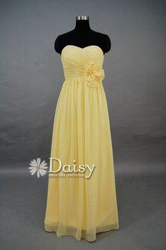 2013 Yellow Long Chiffon Bridesmaid Dress Sweetheart Evening Dress/Delicate Floor Length Prom Dress Bridesmaid Dress(BM032103)