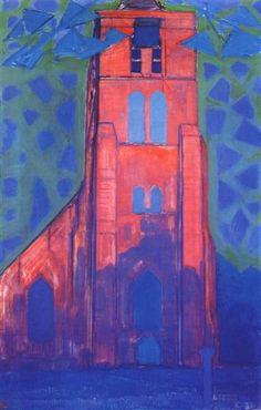 torre de la iglesia en Domburg, 1911 - Piet Mondrian. Fauvismo