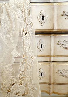 ~ Adore French furniture with French lace!