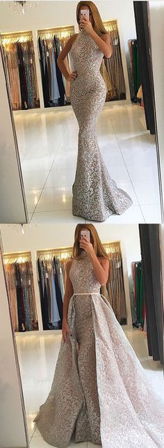 elegant silver lace mermaid prom dresses, unique high neck detachable evening gowns, modest sweep train party dresses with sequins