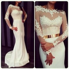 Princess White Lace Long Sleeves Prom Dress, Mermaid Evening Gowns, Mermaid Prom Dress, Prom Dresses with Gold Metal Belt, Long Prom Dress