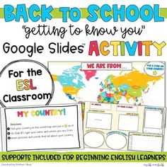 The first few weeks of school is all about GETTING TO KNOW EACH OTHER. This fun ESL Google Slides activity is a great way to build community! Start the year off by having students share information about where they or their families are from.Two options 1- use as a whole group activity with each stu... Group Activities, Writing Activities, Esl Learning, Multiple Meaning Words, Dictionary Words, Reading Words, English Language Learners, Vocabulary Cards, Getting To Know You