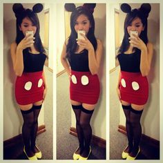 so cute Halloween party Mickey Mouse costume Tone it down for a child, leotard, tights maybe polka dot skirt and bow in middle of ears and you have Minnie Mouse. Mickey Mouse Halloween Costume, Cute Halloween Costumes, Diy Costumes, Halloween Diy, Family Costumes, Costume Ideas, Mickey Mouse Kostüm, Mickey And Minnie Costumes, Mickey Vintage