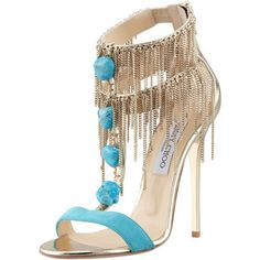 Belle Chain-Fringe T-Strap Sandal by Jimmy Choo at Bergdorf Goodman. Remember one can never have to many shoes. Men can have a closet full of ties to define them-women are defined by their shoes. Dream Shoes, Crazy Shoes, Me Too Shoes, Fancy Shoes, T Strap Shoes, T Strap Sandals, Fringe Sandals, Ankle Strap, Jimmy Choo