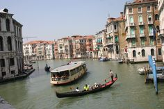 Venice, Italy. Gondolas on Grand Canal. The city is a World Heritage Site