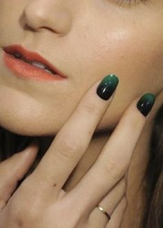 Done with ombre hair, why not try this-- Emerald Ombre Nails :-)