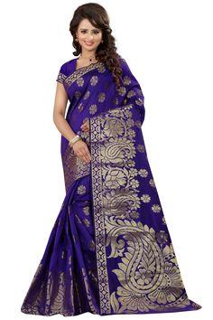 Banarasi Art Silk Blue Color Saree For Women With Blouse Piece