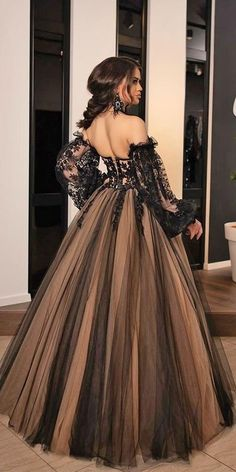 Dark Romance: 24 Gothic Wedding Dresses ❤ gothic wedding dresses ball gown off the shoulder long sleeves black minnafashion ❤ #weddingdresses Black Wedding Gowns, Gothic Wedding, Best Wedding Dresses, Hijab Wedding Dresses, Prom Dresses, Fall Wedding, Hijab Bride, Wedding Ideas, Wedding Bride