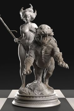 Frank Frazetta 32-statue Solid Silver Chess Set (Featured: The Huntress 6 Troy Oz Silver Statue)