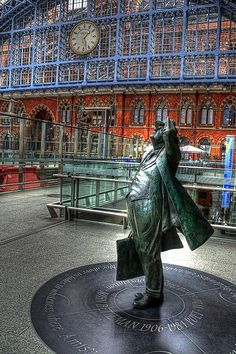 The beautiful St Pancras Station, London with a statue to John Betjeman who help save it from demolition