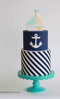 Marine theme. Anchor. Sail boat. Cake