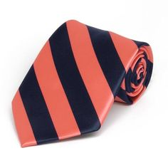 Coral and Navy Blue Woven Striped Tie