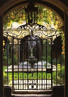 The iron gate and entrance to the Small Cloister at Westminster Abbey, London