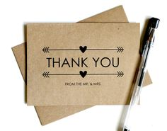 Wedding Thank You Cards Set of 25 Thank You by SimplyCBoutique