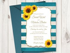 DIY printable wedding invitation template Sunflower Stripes with sunflowers and teal stripes.