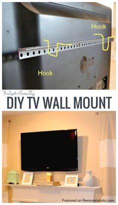 DIY TV Wall Mount For Under $15 Imperfectly Polished On Remodelaholic.com #wallmountedtv #budgetwallmountedtv #howtomountatv
