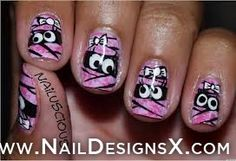 cute pink bows halloween nail art - Nail Designs & Nail Art