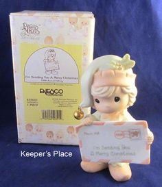Precious Moments Enesco I'M SENDING YOU A MERRY CHRISTMAS 1998 Figurine With Box