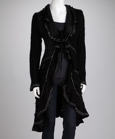 Take a look at this Black Ruffle Duster by Create Your Look: Women's Apparel on #zulily today!