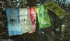 printmaking without a press with Linda Germain - enjoy these prayer flags made with gelatin prints on cotton