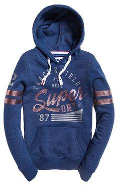 sale retailer 4f3d9 20bbf Superdry Damen Hoodie in Blau. Langarm mit Rippbündchen. Kangurutasche und  weißer Kordel.
