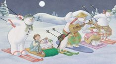 The snowman competes in the annual Snowman's Downhill Race and the snowdog and Billy take part, too Father Christmas, Christmas 2017, Christmas Cards, Snowman And The Snowdog, Raymond Briggs, Ideal Image, Wolfhound, 30th Anniversary, Racing