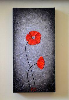 Original  Modern Art Abstract Red Poppies Artwork by ZarasShop