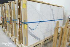 Love this!  Tile that resembles marble!  Gorgeous!  Statuario large slab TILE | Classy Glam Living