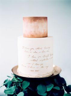 The standout detail was Andrea Kargl's sparely elegant watercolor cake. To adorn it, several lines from a sensual sonnet by the great Chilean love poet Pablo Neruda were penned onto the middle tier in calligrapher Natalia Reid's light and airy hand.   Photo by Peaches & Mint #cake #PabloNeruda
