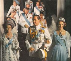 Constantine II of th Hellenes with his wife Anne Marie  (wearing the Romanov emeralds of Queen Olga) and his mother Dowager Queen Frederika (wearing the tiara of her mother in law Sophie & a 400 plus carat sapphire).Behind are Anne-Marie's parents King Frederick and Queen Ingrid of Denmark with Queen Sikrit of Thailand.