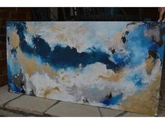 **GORGEOUS, GLITTERING, SHIMMERING, TRANQUIL PIECE** Click on image for a larger view. Title: Angelic Size: 48 x 24 x 3/4 Canvas: Glitter Accent,
