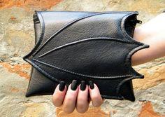 Makeup cosmetic bag for purse dragon wing, faux leather make up bag, cosmetic dragon wing, vegan bag, small makeup bag, dragon makeup bag   Shop more vegan bags on shop.address.com