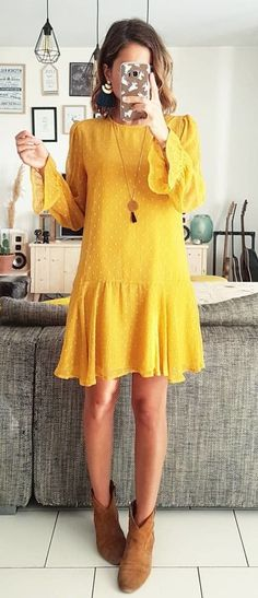 #fall #outfits women's yellow long-sleeve mini dress