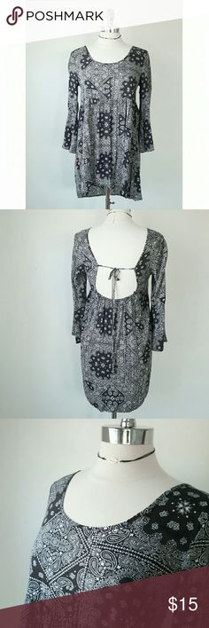 Black Baby Doll Dress- Bell Sleeve, Bandana print - Black and White  - Size S/M - 32in L, 23in Sleeve - Elastic empire waist,  tie scoop back, Bell sleeves Dresses