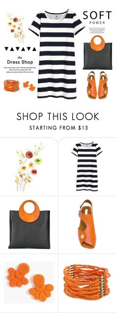"""The Dress Shop"" by musicfriend1 on Polyvore featuring Michael Kors, STELLA McCARTNEY, J.Crew, Curvy Chic, stripes, lovethis, tshirtdress and OrangeAccents"