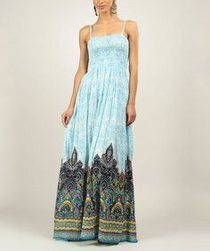 Another great find on #zulily! Turquoise & Navy Artisan Smocked Maxi Dress by Kushi by Jasko #zulilyfinds