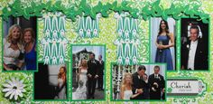 Wedding Scrapbook Page - After the Wedding Ceremony - 2 page wedding layout with a flower curtain - from Wedding Album 4