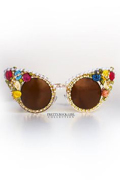 Victorian Inspired Caged Cateye Sunglasses with Rosette   Gold Rhinestone,  marie Antoinette, sunglasses, cutout sunglasses, gold sunglasses c68fc772124c