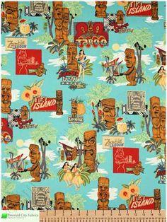 Alexander Henry Tiki Island Blue Hawaiian Cotton Fabric