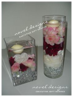 Shower Centerpieces w/Gems, Flowers & Floating Candles - Event centerpieces created by Novel Designs Executive Gift Service of Las Vegas.