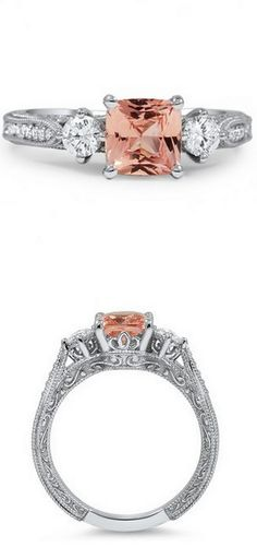 Embellished Three Stone Ring. Pretty. (I'd like a more pink-ish stone in the center.)