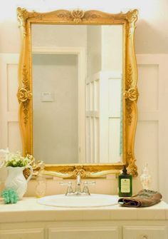 Gold Frame Mirror Bathroom Makeover Vintage Romance Featured On Remodelaholic