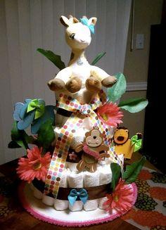 Safari jungle theme baby diaper cake for baby girl