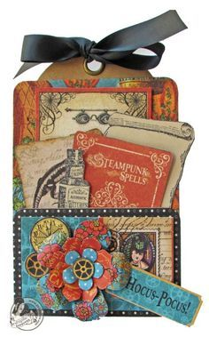 """Try this Steampunk Spells """"Hocus-Pocus!"""" Pocket card with a printable project sheet #graphic45 #projectsheets #tutorials"""