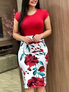 Short Sleeve Floral Print Bodycon Dress