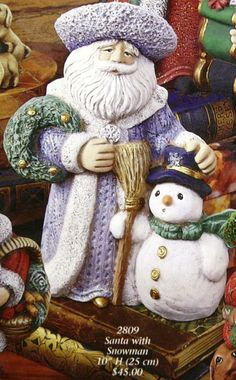 Ceramic Bisque Santa with Snowman Gare Mold 2809 U-Paint Ready To Paint #Gare #UPaint